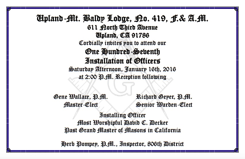 Upland mt baldy lodge annual installation of officers january 16