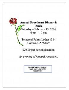 2:13:2016 Annual Sweetheart Dinner Temescal Palms
