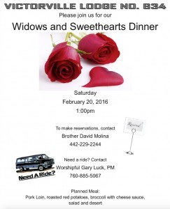 2:20:2016 Widows and Sweetheart Dinner