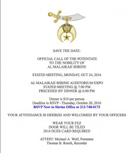 OFFICIAL CALL OF THE POTENTATE 10:20:16