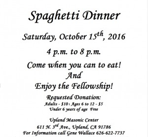 Spaghetti Dinner Upland Lodge 10:15:16