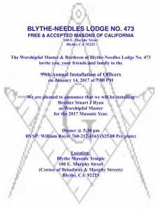 Blythe Annual Installation of Officers